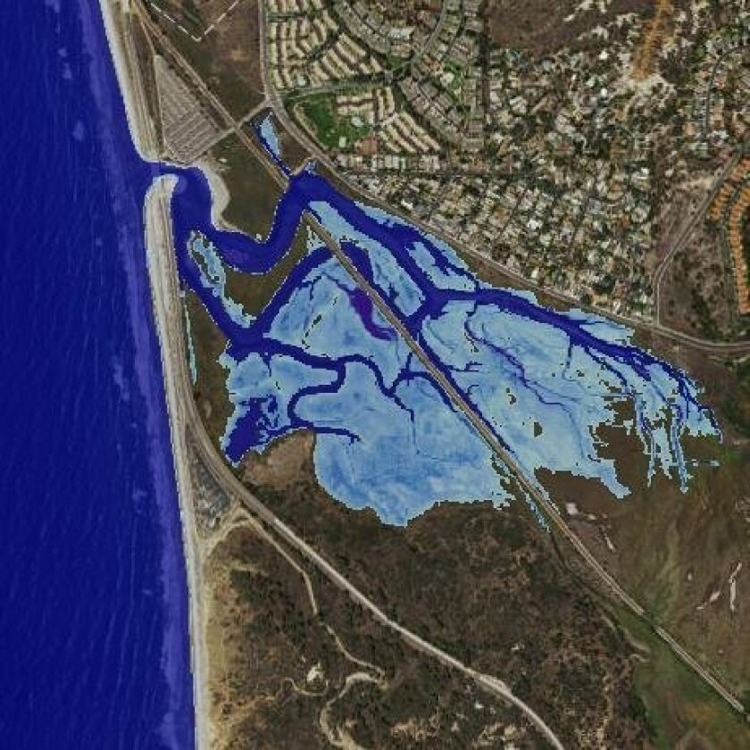 Torrey Pines as it would be affected by a 1-foot sea level rise