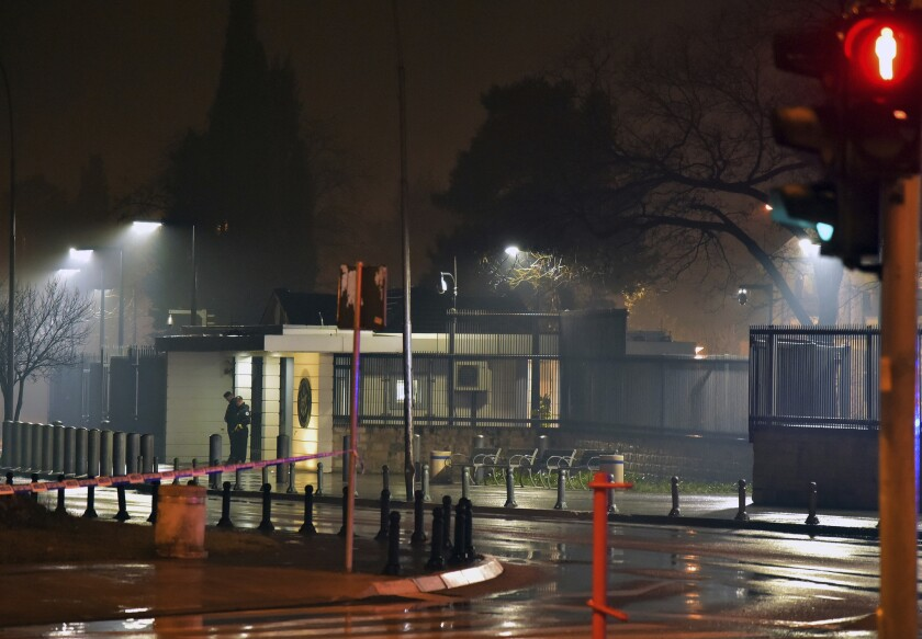 Police block off the area around the U.S. Embassy in Montenegro's capital Podgorica, Feb. 22, 2018. Local media say that an unknown assailant hurled a hand grenade toward the embassy and then killed himself with another explosive device.