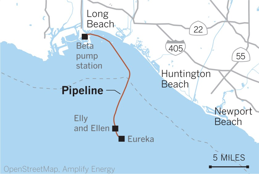 Map showing platforms Elly and Eureka off the Huntington Beach coast.