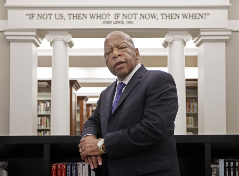Rep. John Lewis (D-Ga.) visits the Civil Rights Room in the Nashville Public Library in Nashville, Tenn., on Nov. 18, 2016.