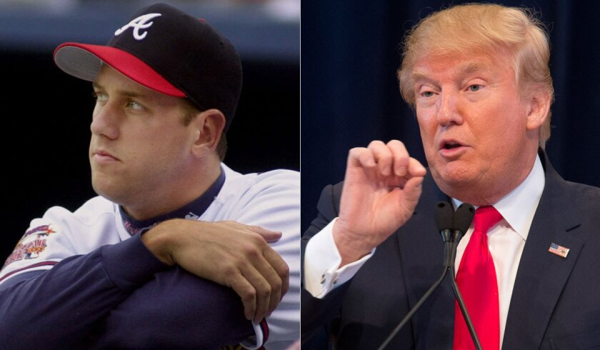 One-time Atlanta Braves pitcher John Rocker, left, has expressed his support for Republican presidential hopeful Donald Trump.
