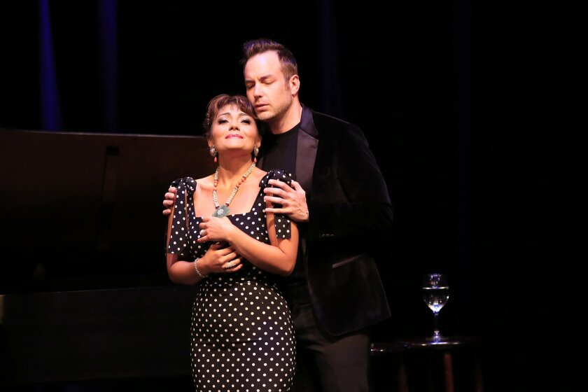Husband and wife opera stars Ailyn Perez and Stephen Costello in a recital at the Balboa Theatre that opened the San Diego Opera's 50th anniversary season.