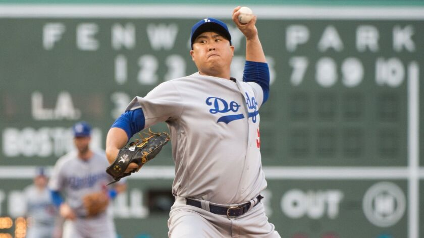 Hyun-Jin Ryu pitching for the Dodgers against the Boston Red Sox at Fenway Park.
