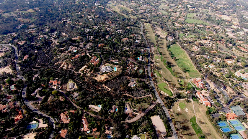 An aerial view of Rancho Santa Fe's forest.