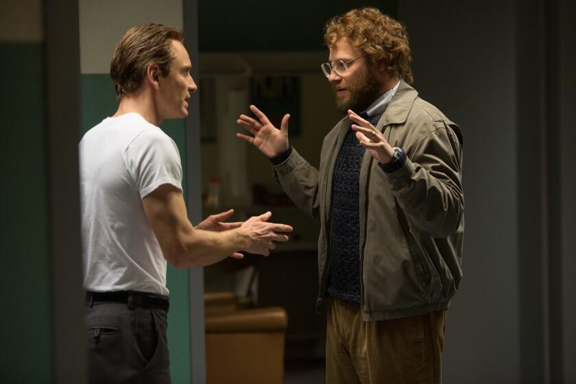 "Michael Fassbender and Seth Rogen in ""Steve Jobs"""