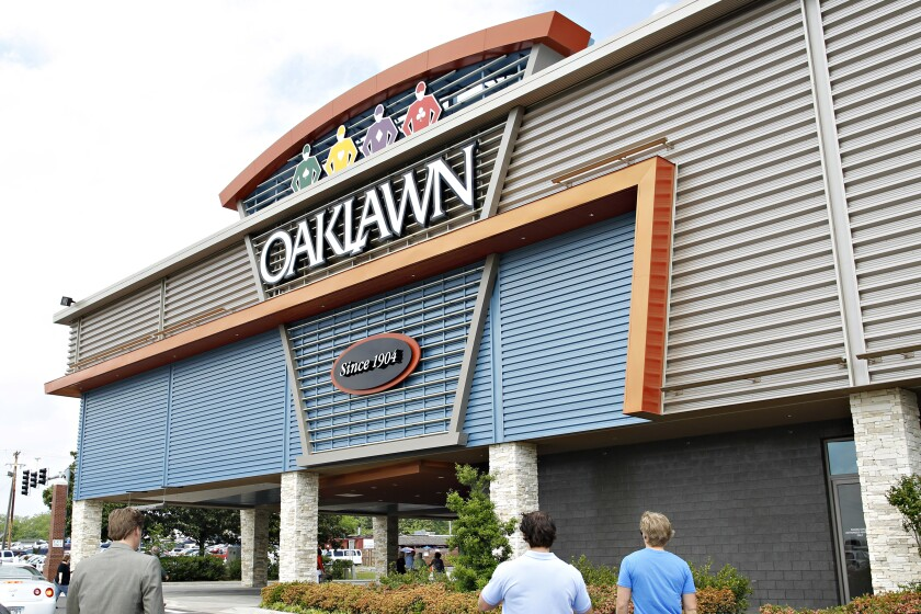 The entrance to Oaklawn in Hot Springs, Ark., is shown April 14, 2012, in Hot Springs, Ark.
