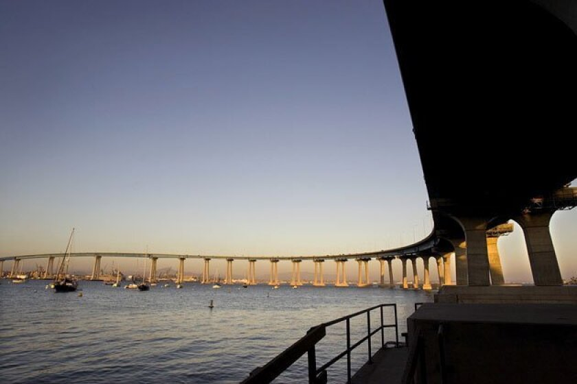The 2.1-mile, 40-year-old San Diego-Coronado Bridge, seen from Tidelands Park in Coronado. (Howard Lipin / Union-Tribune)