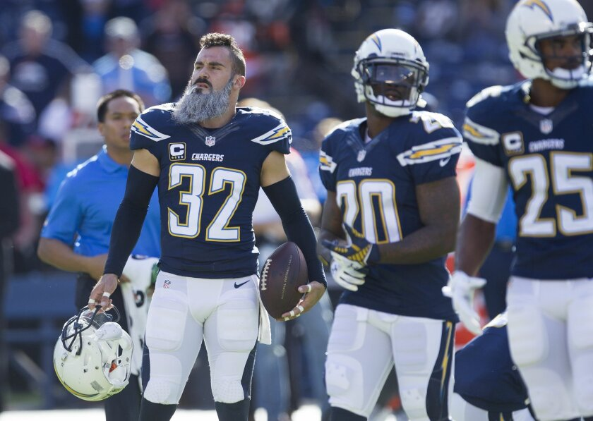 San Diego Chargers vs. The Denver Broncos at Qualcomm Stadium.San Diego Chargers free safety Eric Weddle (32) painted his beard white for the game.