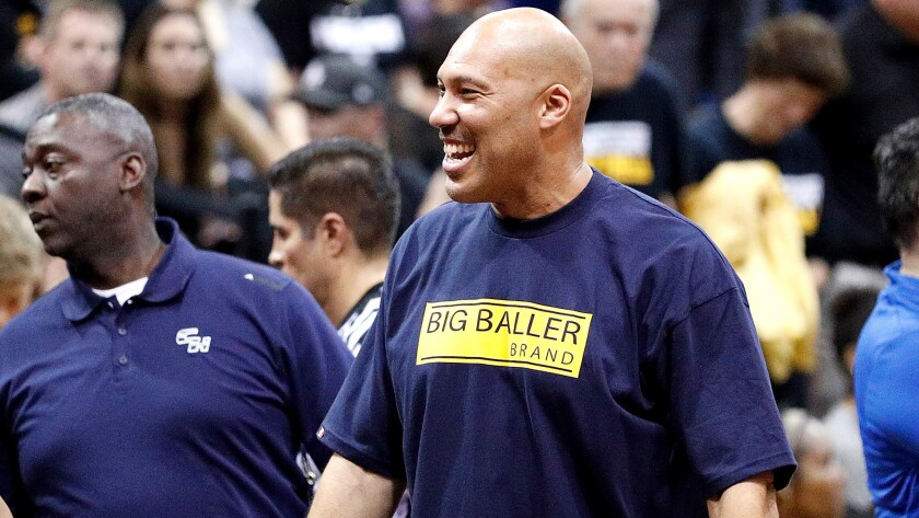 LaVar Ball sports one of his family's Big Baller Brand T-shirts during a game between Chino Hills and Bishop Montgomery.
