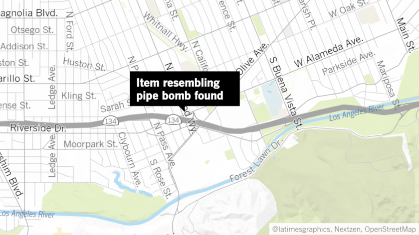 An item resembling a pipe bomb was found in a Burbank neighborhood on Wednesday, prompting a response from the Los Angeles County Sheriff's Department bomb disposal unit.