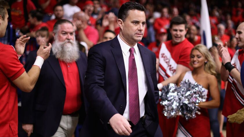 Arizona coach Sean Miller walks out onto the court before a game against California at McKale Center on March 3, 2018 in Tucson, Ariz.