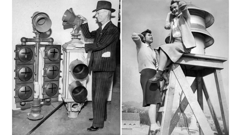 Ralph Dorsey, chief traffic engineer, left image, with first two air-raid sirens which will be placed atop traffic signals. In right image, Westwood co-eds, react to blast from new siren.