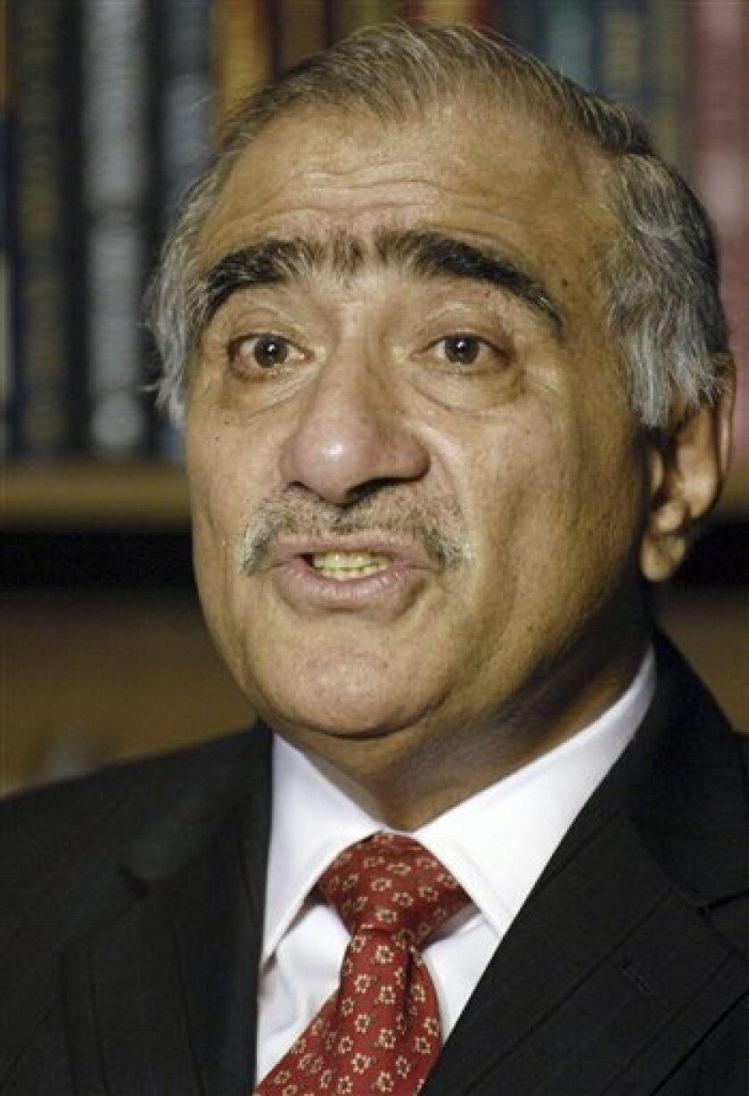 In this Sept, 23, 2006 file photo, Mahmood Ali Durrani, Pakistan's national security adviser, speaks in Washington, D.C.  Pakistan fired its national security adviser amid tensions with India over the Mumbai attacks, a sign of strain on the weak civilian administration as it responds to growing pr