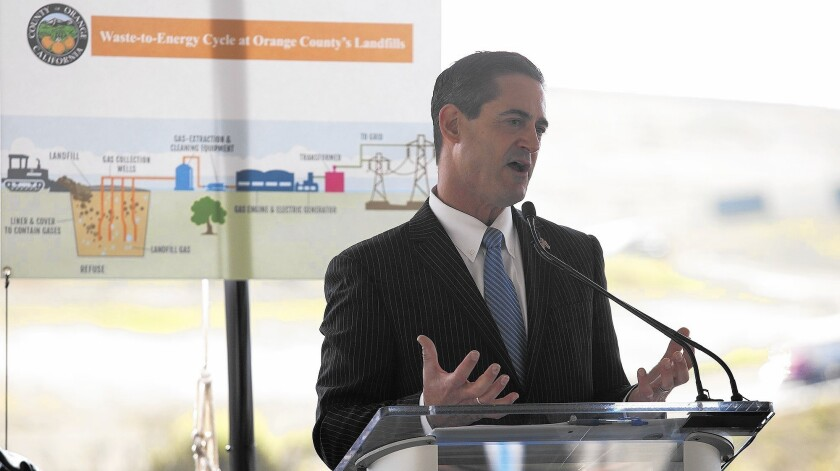 Orange County Supervisor Todd Spitzer, whose district includes Irvine's Bowerman Landfill, speaks Tuesday during a ribbon-cutting ceremony for the landfill's renewable-energy power plant, which converts methane gas to electricity.