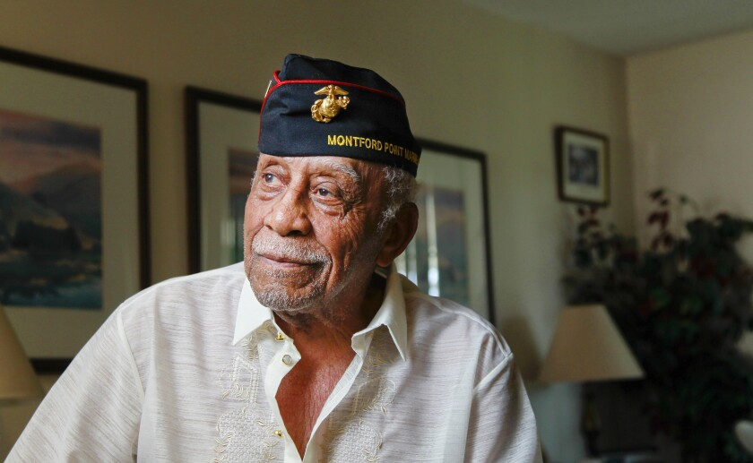 U.S. Marine Corps veteran Robert L. Moore poses for photos at his home on August 14, 2019 in Oceanside, California. Moore, 90, is one of the region's last surviving members of the Montford Point Marine Association which was a segregated boot camp from WWII.