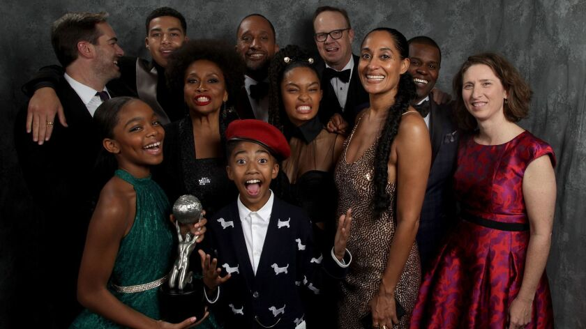 """The cast of """"black-ish,"""" pictured in the Los Angeles Times Photo Booth, won outstanding comedy series at the 49th NAACP Image Awards at the Pasadena Civic Center."""
