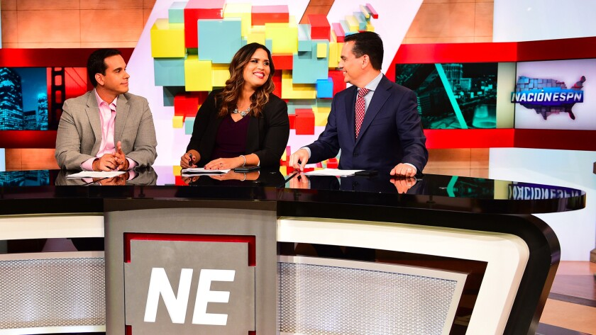 "From left, Jorge Sedano, Marly Rivera and Bernardo Osuna will co-anchor ""Nacion ESPN."""