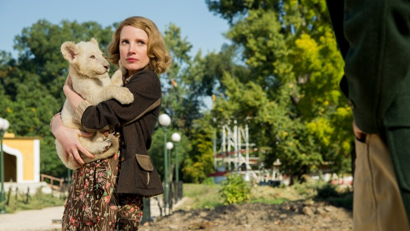 "Jessica Chastain in the ""Zookeeper's Wife."""