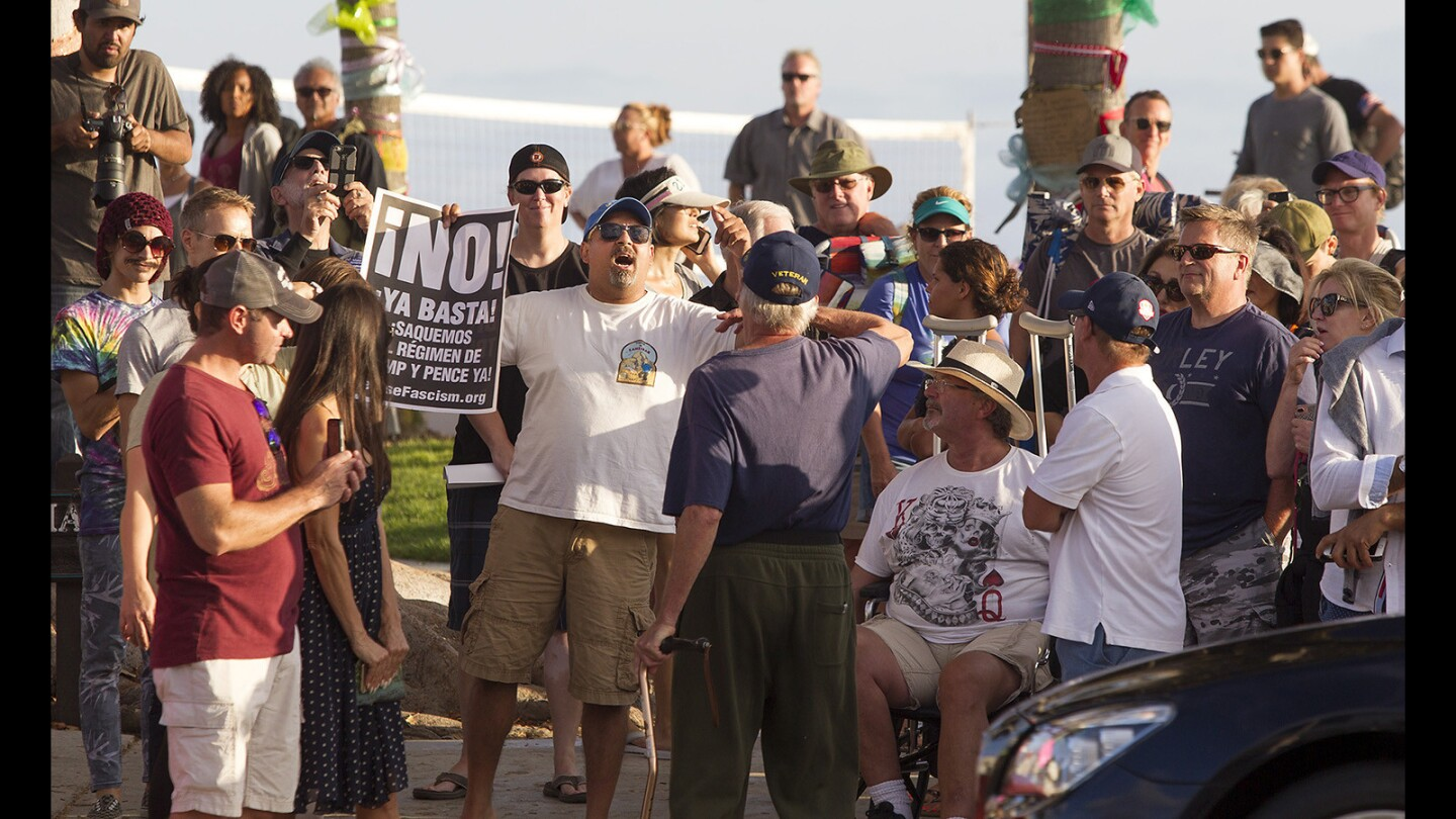 """Counter Protestors Overwhelm """"America First"""" Demonstration in Laguna"""