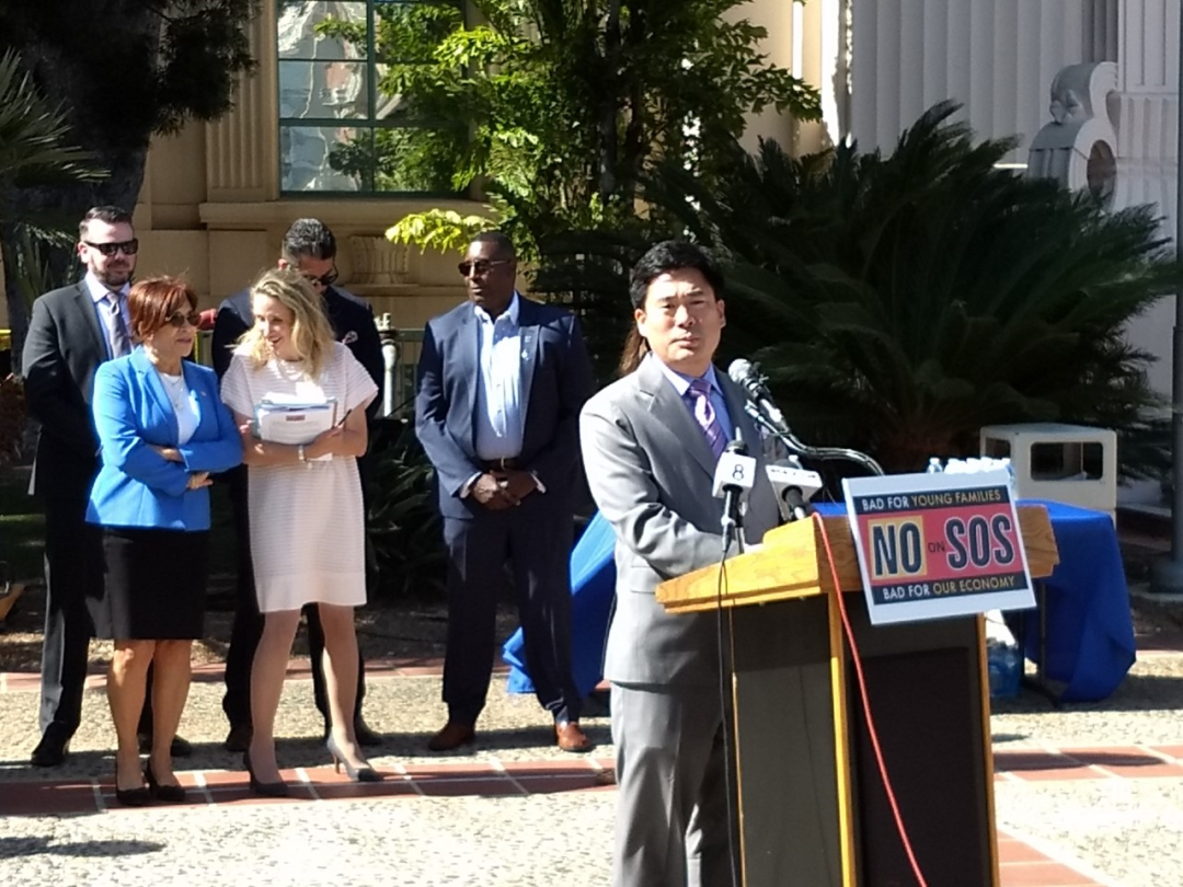 No on SOS  news conference --Haney Hong speaking