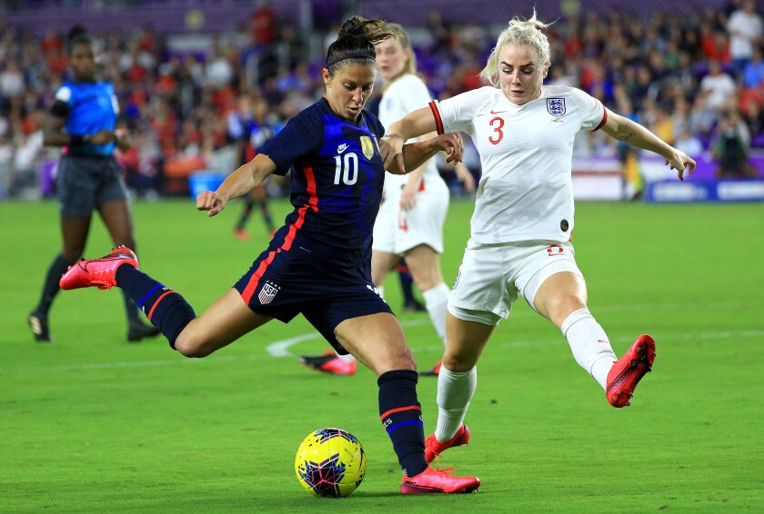 United States' Carli Lloyd (10) shoots during a match against England in the SheBelieves Cup at Thursday in Orlando, Fla.