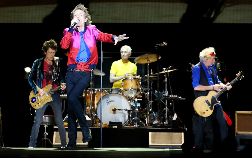"Mick Jagger and the Rolling Stones, shown Oct. 14 at the Desert Trip mega-concert in Indio, have just released ""Blue & Lonesome,"" consisting of their versions of a dozen vintage American blues songs."