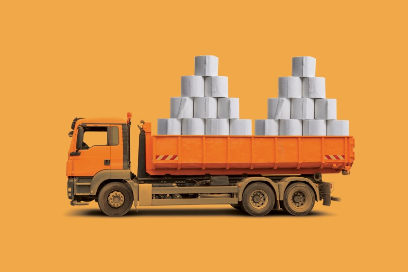 Illustration of a truck filled with toilet paper