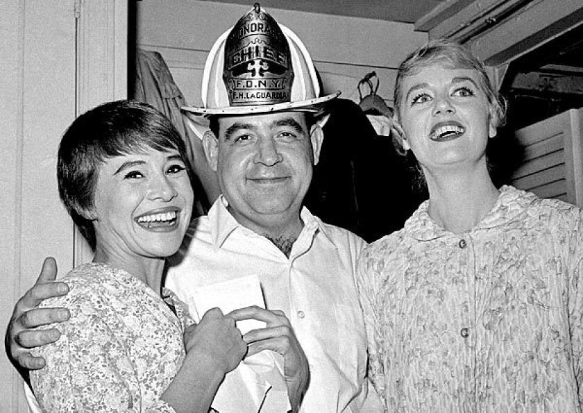 """Tom Bosley poses with cast members Pat Stanley, left, and Ellen Hanley after the opening performance of the Broadway musical """"Fiorello!"""" in 1959. He won a Tony Award the next year for best featured actor for his breakthrough role as New York's legendary Mayor Fiorello LaGuardia. See full story"""