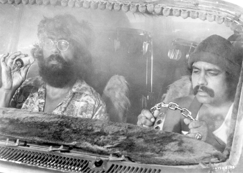 """1978 photo movie still from Richard (Cheech) Marin, left, and Tommy Chong in movie """"Up In Smoke"""""""
