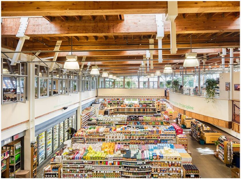 The market hall is the main shopping floor of Ocean Beach People's Organic Food Market.