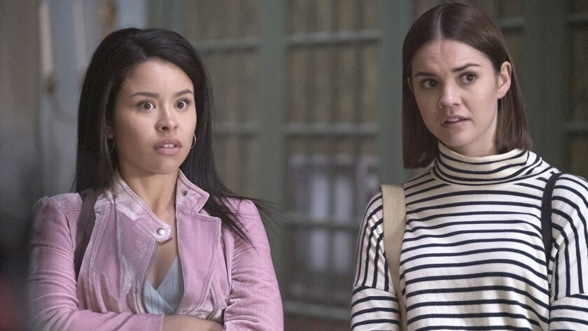 "Cierra Ramirez and Maia Mitchell in ""Good Trouble"" on Freeform."