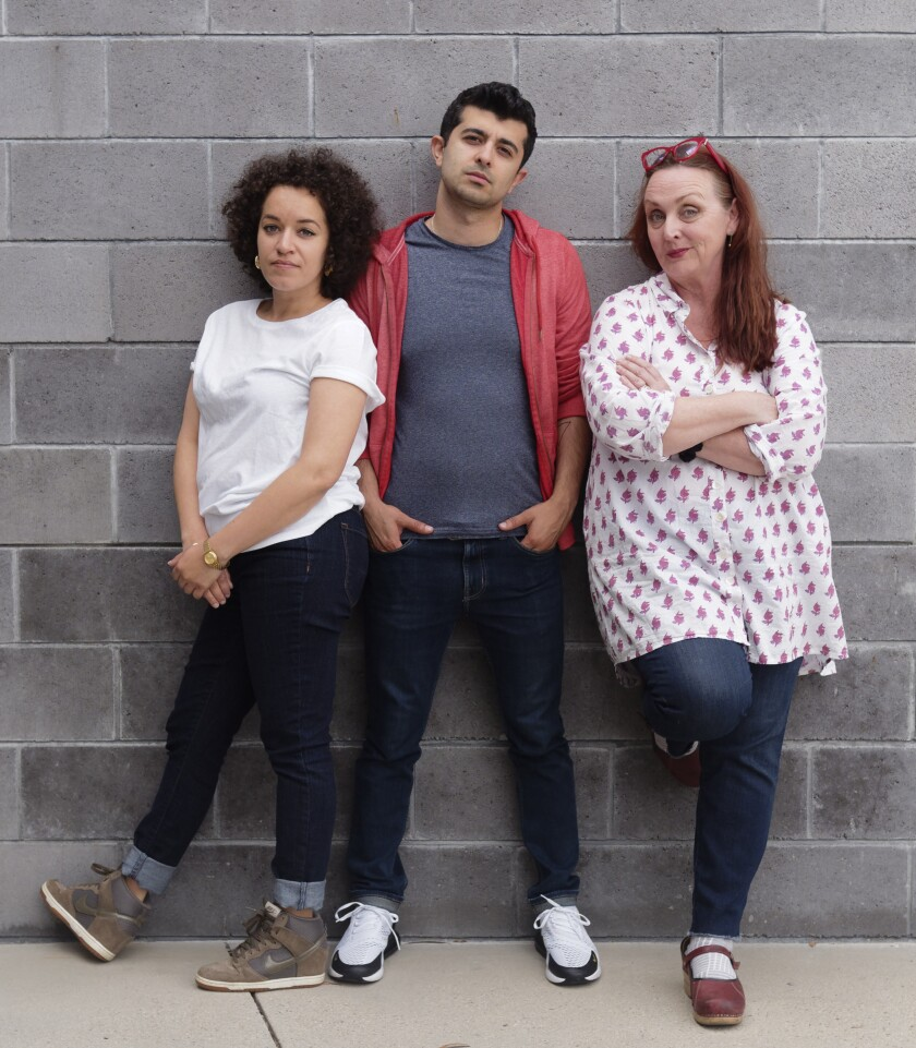 """Shannon Matesky, Behzad Dabu and Linda Libby (from left) appear in Ike Holter's world-premiere work """"Put Your House in Order"""" at La Jolla Playhouse."""