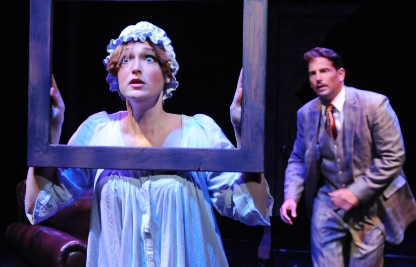 """Kelsey Venter and David S. Humphrey in Lamb's Players Theatre's """"The 39 Steps."""""""