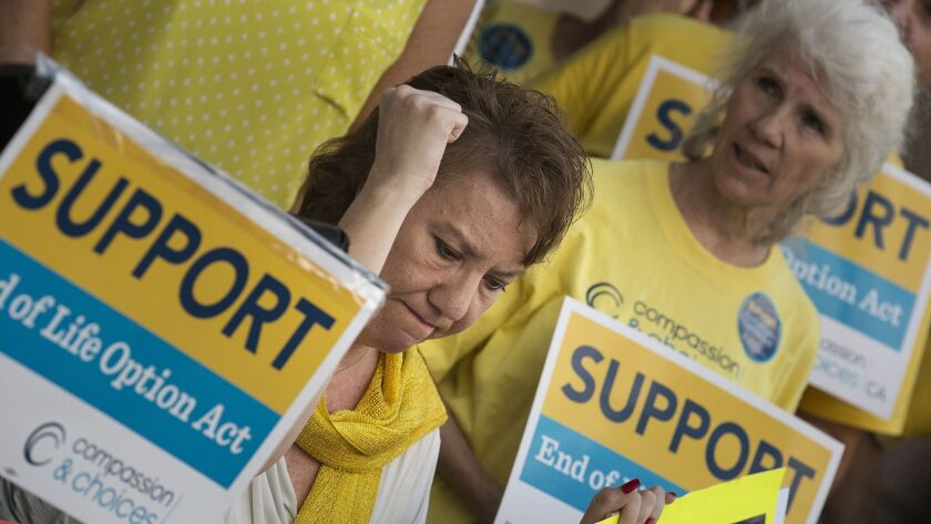 Activists rally in support of the End of Life Option Act in Los Angeles on Sept. 24, 2015.