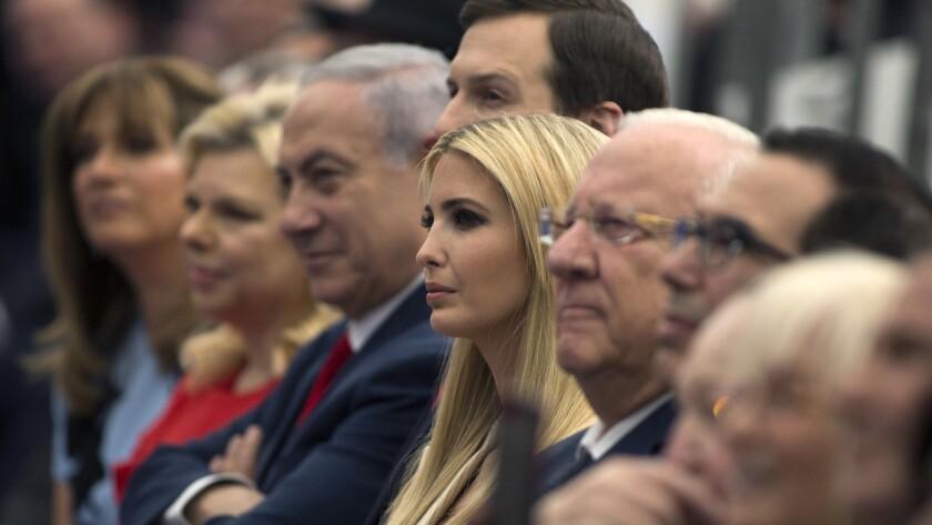 Israeli Prime Minister Benjamin Netanyahu and wife Sara, second from left, are joined by White House advisor Jared Kushner, President Trump's daughter Ivanka, Israeli President Reuven Rivlin and U.S. Treasury Secretary Steven T. Mnuchin at the U.S. Embassy opening in Jerusalem.