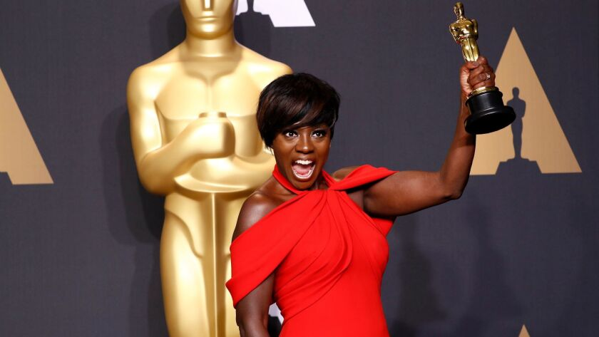 Viola Davis and her Oscar for best supporting actress.