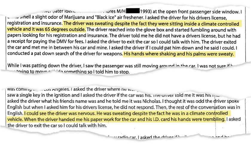In excerpts from four traffic-stop reports, Deputy James Peterson used nearly identical language to