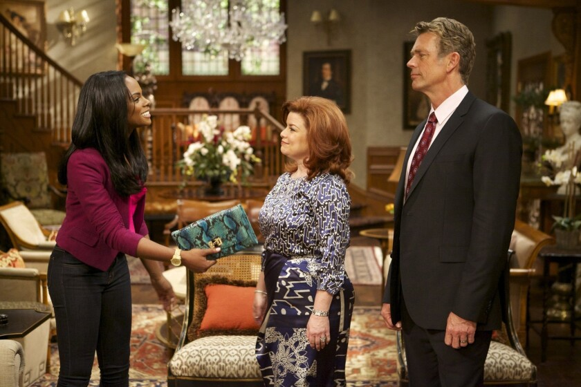 Candace Young (Tika Sumpter); Katheryn Cryer (Renee Lawless) and Jim Cryer (John Schneider) from 'The Haves and the Have Nots.'