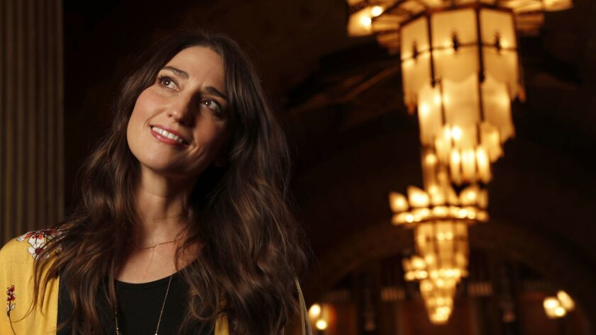 """Sara Bareilles, who wrote the music and lyrics for the hit """"Waitress,"""" photographed at the Hollywood Pantages Theatre, where the national tour of the musical begins performances Thursday."""