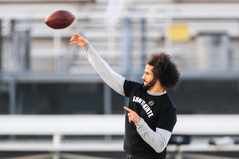 Colin Kaepernick passes the ball during his workout for NFL personnel Saturday in Atlanta.