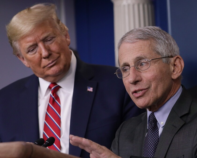 President Trump listens to Dr. Anthony Fauci, director of the National Institute of Allergy and Infectious Diseases, during a coronavirus briefing at the White House.