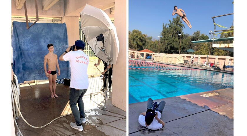 """La Cañada High School sophomore Ray Wipfli poses and dives in an Oct. 24 photo shoot at the Rose Bowl Aquatics Center, where he practices. The 15-year-old is one of five finalists in Sports Illustrated Kids magazine's """"Sports Kid of the Year"""" award."""