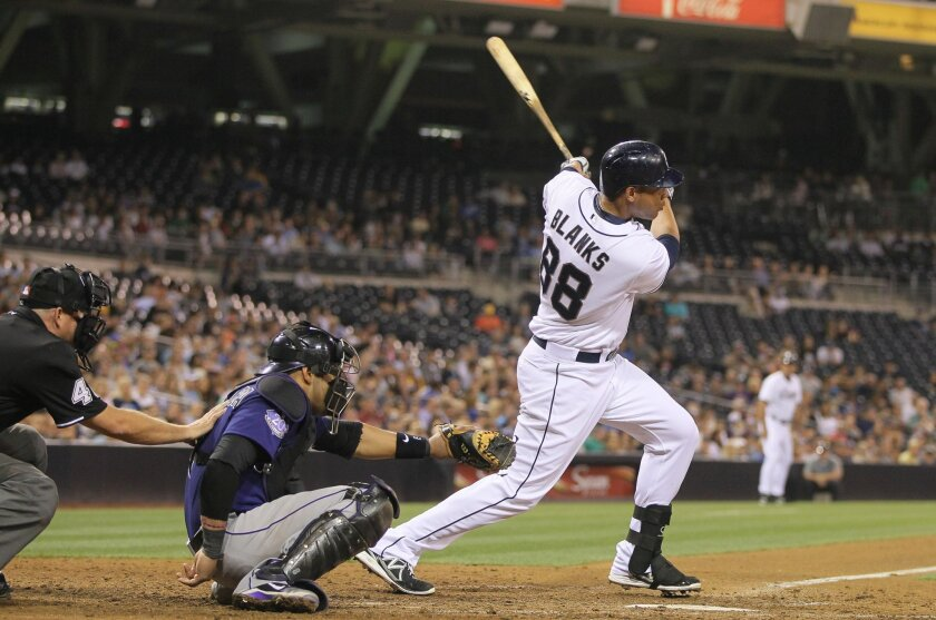 Padres' Kyle Blanks connects for a double.
