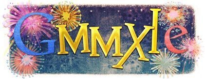 Roman numerals replace letters of the Google logo to celebrate the year 2011.