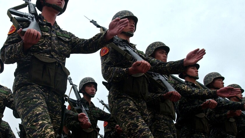 Soldiers of the 66th Marine Corps march in formation during an exercise, Friday, April 29, 2005, in Linkou on the outskirts of Taipei, Taiwan.