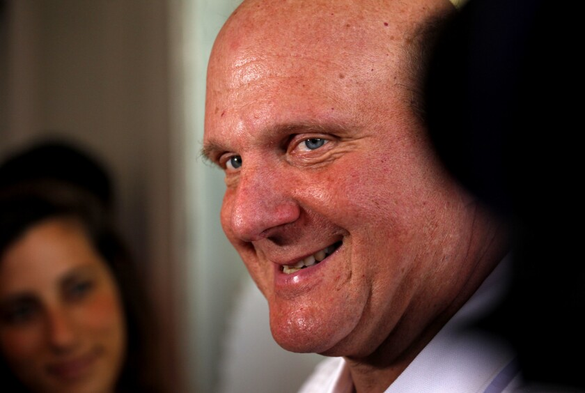 "Clippers owner Steve Ballmer talks to media during a campaign to celebrate the ""next era'' of Clippers basketball in downtown Los Angeles."