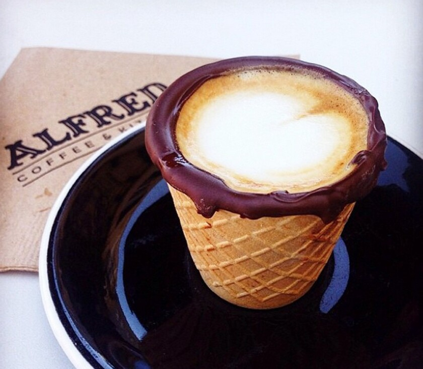 The Alfred Cone from Alfred Coffee & Kitchen in Los Angeles. It's a 4-ounce cone dipped in chocolate you can order with a macchiato or an espresso.