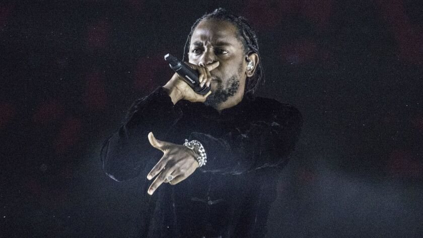 Kendrick Lamar onstage at the Coachella Valley Music and Arts Festival in 2017.