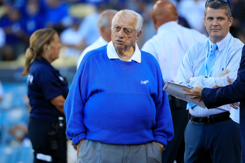 Former Dodgers manager Tom Lasorda looks on before Game 1 of the 2018 National League Division Series.