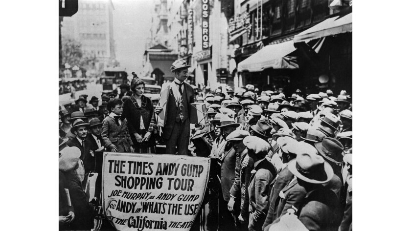 April, 1924: Crowds turned out during a Los Angeles Times promotion in downtown Los Angeles for the Gumps.